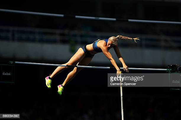 Michaela Meijer of Sweden competes during the Women's Pole Vault Qualifying Round - Group A on Day 11 of the Rio 2016 Olympic Games at the Olympic...