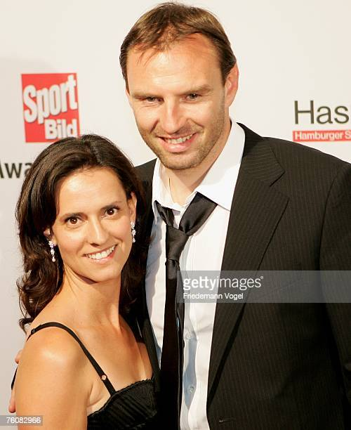Michaela Nowotny and former footballer Jens Nowotny attend the Sport Bild Award 2007 at the Elb Lounge August 13 2007 in Hamburg Germany
