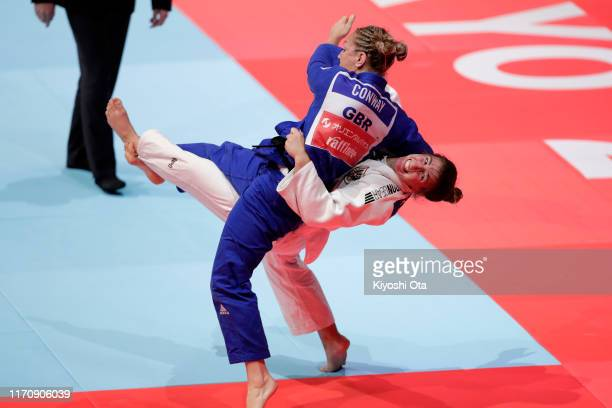 Michaela Pollares of Austria and Sally Conway of Grwat Britain compete in the Women's -70kg bronze medal bout on day five of the World Judo...