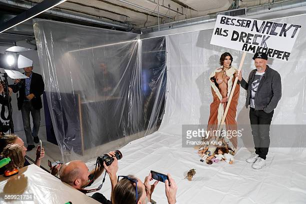 Michaela Schaefer and Kai Stuht pose during the Performance 'Babydoll Fashion by Micaela Schaefer' in Berlin on August 15 2016 in Berlin Germany