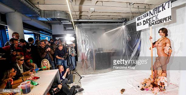 Michaela Schaefer poses during the Performance 'Babydoll Fashion by Micaela Schaefer' in Berlin on August 15 2016 in Berlin Germany