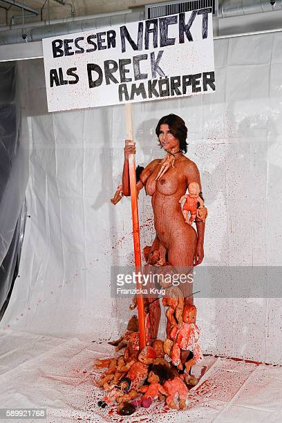 Michaela Schaefer poses during the Performance 'Babydoll Fashion by Micaela Schaefer' in Berlin on August 15, 2016 in Berlin, Germany.