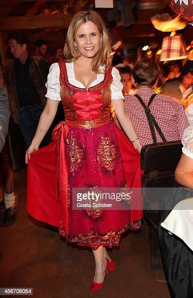 Michaela Schaffrath wearing a dirndl of Pia Bolte Herzi Dirndl during Oktoberfest at Kaeferzetl/Theresienwiese on October 5 2014 in Munich Germany