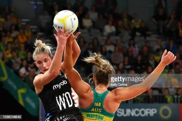 Michaela SokolichBeatson of the Silver Ferns catches the ball during the Quad Series International Test match between the Australian Diamonds and the...