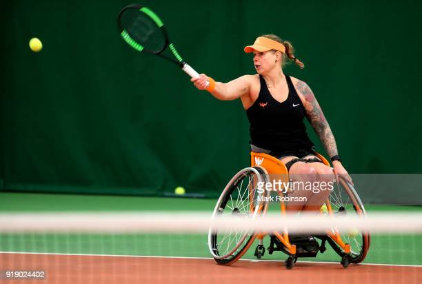 Michaela Spaanstra of the Netherlands in action during her match with Mariska Venter of South Africa during day 2 of the Preston Indoor Wheelchair...