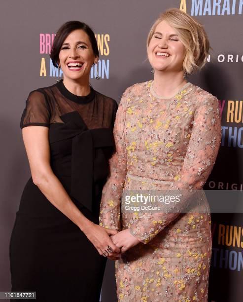 Michaela Watkins and Jillian Bell arrive at the premiere of Amazon Studios' Brittany Runs A Marathon at Regal LA Live on August 15 2019 in Los...
