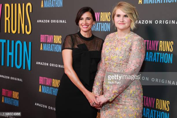 Michaela Watkins and Jillian Bell attend the premiere of Amazon Studios' Brittany Runs A Marathon at Regal LA Live on August 15 2019 in Los Angeles...