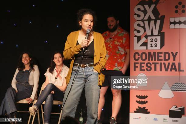 Michaela Watkins Jessica McKenna Ilana Glazer and Horatio Sanz speak onstage at Upright Citizens Brigade's ASSSSCAT during the 2019 SXSW Conference...