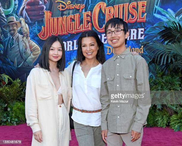 Michaela Zee, Ming-Na Wen, and Cooper Dominic Zee arrive at the world premiere for JUNGLE CRUISE, held at Disneyland in Anaheim, California on July...