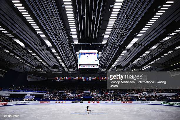 MichaelaLucie Hanzlikova of Czech Republic competes in the Ladies Free Skating during day 3 of the European Figure Skating Championships at Ostravar...