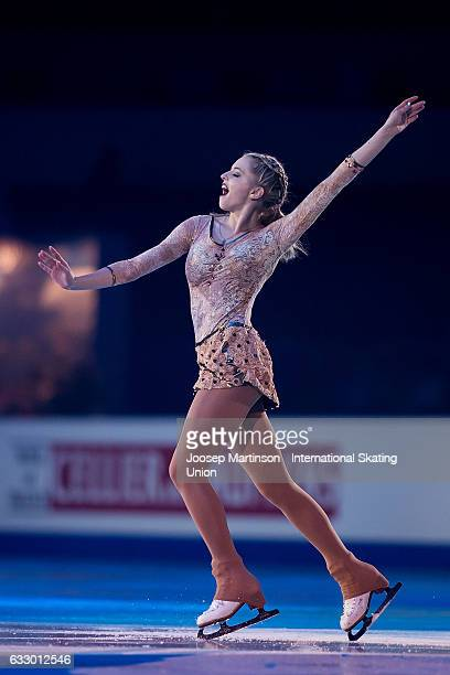 MichaelaLucie Hanzlikova of Czech Republic perform in the gala exhibition during day 5 of the European Figure Skating Championships at Ostravar Arena...