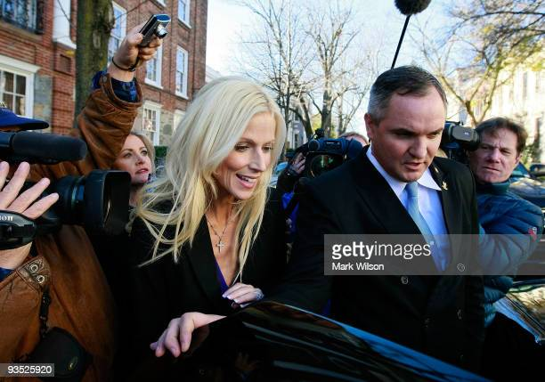 Michaele and Tareq Salahi leave the Halcyon House in Georgetown on December 1 2009 in Washington DC The couple are under investigation for allegedly...