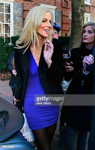 Michaele Salahi leaves the Halcyon House in Georgetown on December 1 2009 in Washington DC Michaele and Tareq Salahi are under investigation for...