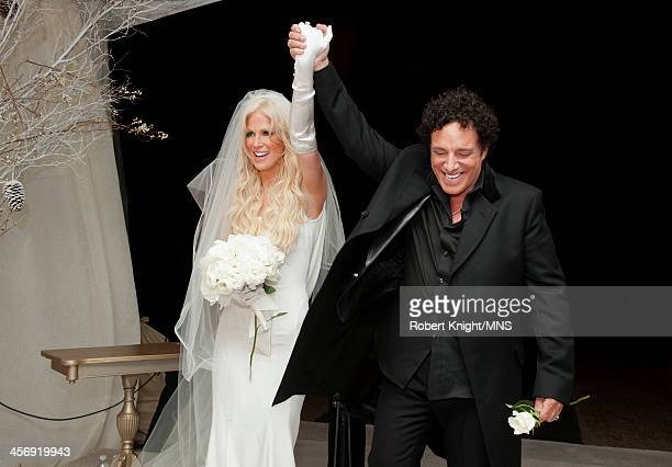 Michaele Schon and Neal Schon immediately after they are pronounced a married couple at their wedding at the Palace of Fine Arts on December 15 2013...