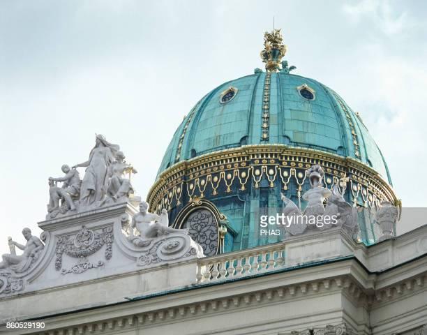 Michaelertor 18891893 Vienna Austria Entrance to the castle Hofburg Detail of the dome 1893 from Michaelerplatz