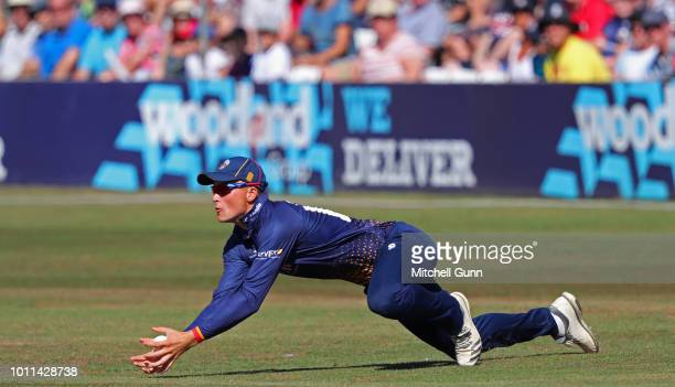MichaelKyle Pepper of Essex takes a catch to dismiss Aaron Finch of Surrey during the Vitality Blast T20 match between Essex Eagles and Surrey at The...