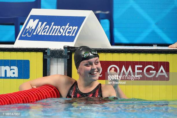 Michaella Glenister of Great Britain reacts after the Women's 400m IM Heats during Day One of the FINA World Junior Swimming Championships at Duna...