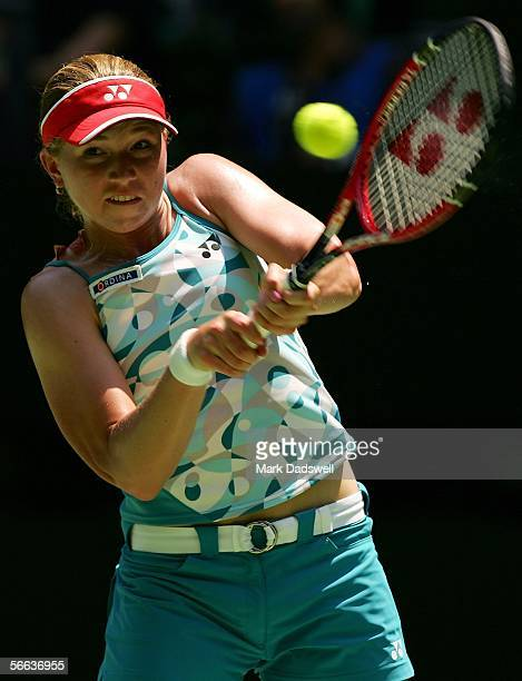 Michaella Krajicek of Holland plays a backhand in her third round match against Amelie Mauresmo of France during day six of the Australian Open at...