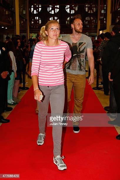 Michaella Krajicek of the Netherlands arrives at the players party during day two of the Mutua Madrid Open tennis tournament at the Caja Magica on...