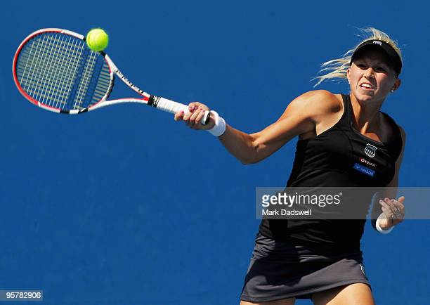 Michaella Krajicek of the Netherlands hits a forehand in her Women's Qualifying second round match against Laura Robson of Great Britain ahead of the...