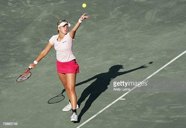 Michaella Krajicek of the Netherlands hits a serve in her 1657 loss to Vera Zvonareva of Russia during the Family Circle Cup at the Family Circle...