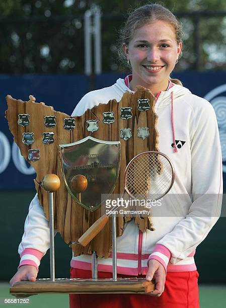 Michaella Krajicek of the Netherlands holds the trophy after winning the Sony Ericsson Moorilla International at the Domain January 13 2006 in Hobart...