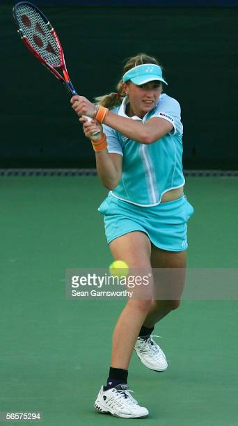 Michaella Krajicek of the Netherlands in action against Jelena Kostanic of Croatia during day five of the Sony Ericsson Moorilla International at the...