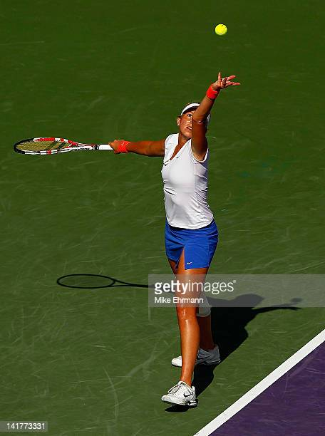 Michaella Krajicek of the Netherlands in action against Victoria Azarenka of Bulgaria during Day 5 of the Sony Ericsson Open at Crandon Park Tennis...
