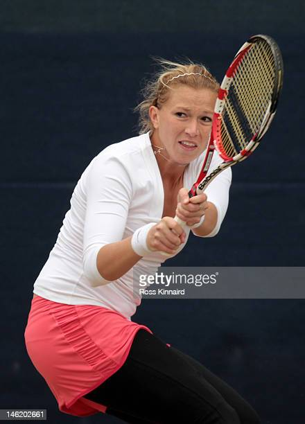 Michaella Krajicek of the Netherlands in action during day two of the AEGON Classic at Edgbaston Priory Club on June 12 2012 in Birmingham England