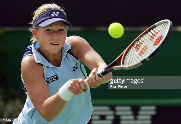 Michaella Krajicek of The Netherlands in action during her match against Patty Schnyder of Switzerland during day four of the Australian Open Grand...