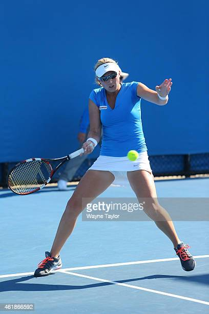 Michaella Krajicek of the Netherlands plays a forehand in their first round doubles match with Barbora Zahlavova Strycova of the Czech Republic...