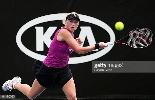 Michaella Krajicek of the Netherlands plays against Carly Gullickson of the USA during qualifying for the 2009 ASB Classic at ASB Tennis Centre on...