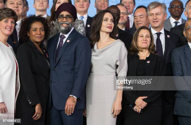 Michaelle Jean secretarygeneral of Organisation Internationale de la Francophonie from second left Harjit Sajjan Canada's defense minister actress...