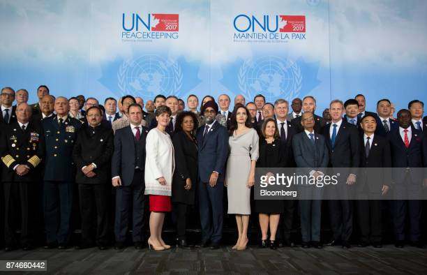 Michaelle Jean secretarygeneral of Organisation Internationale de la Francophonie from center left Harjit Sajjan Canada's defense minister actress...