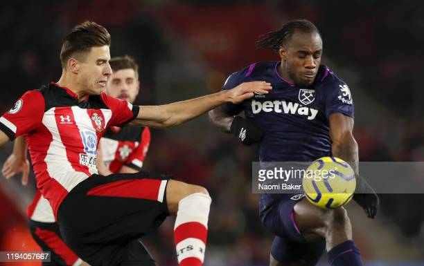 Michail Antonio has a goal disallowed after the ball appears to come off his hand in the buildup during the Premier League match between Southampton...