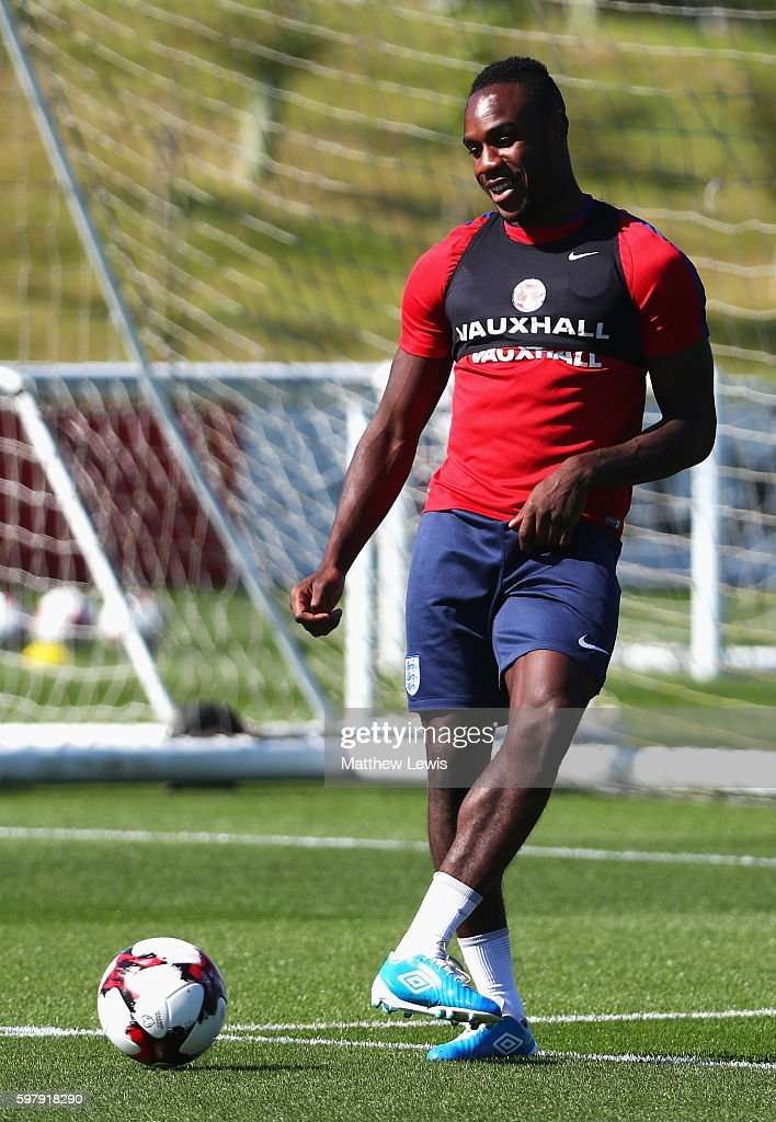 Michail Antonio of England passes during an England training session at St George's Park on August 30, 2016 in Burton-upon-Trent, England.