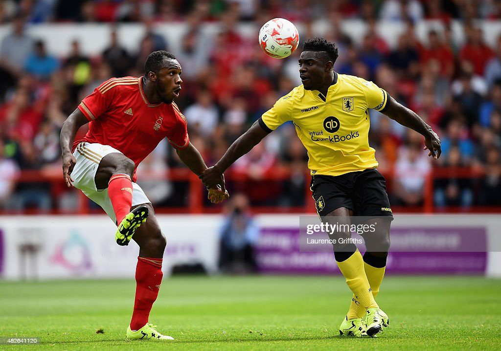 Michail Antonio of Nottingham Forest battles with Micah Richards of Aston Villa during the Pre Season Friendly match between Nottingham Forest and Aston Villa at City Ground on August 1, 2015 in Nottingham, England.