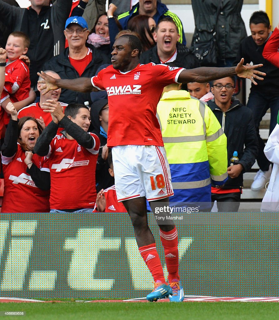 Michail Antonio of Nottingham Forest celebrates scoring their second goal during the Sky Bet Championship match between Nottingham Forest and Ipswich Town at City Ground on October 5, 2014 in Nottingham, England.