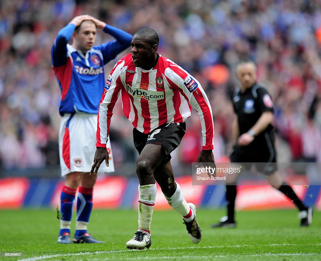 Michail Antonio of Southampton celebrates after scoring during the Johnstone's Paint Trophy Final between Southampton and Carlisle United at Wembley Stadium on March 28, 2010 in London, England.