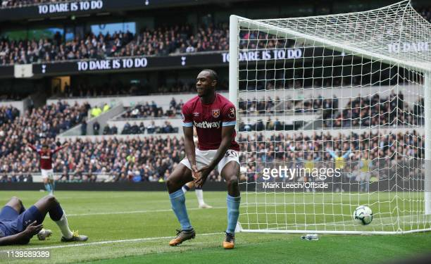 Michail Antonio of West Ham celebrates after scoring the opening goa during the Premier League match between Tottenham Hotspur and West Ham United at...