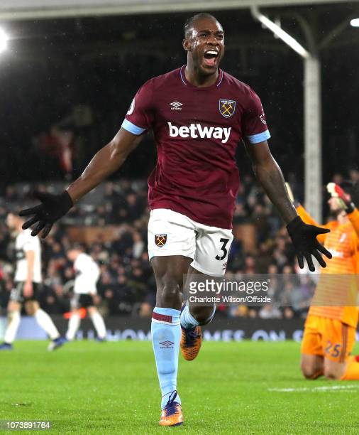Michail Antonio of West Ham celebrates scoring their 2nd goal during the Premier League match between Fulham FC and West Ham United at Craven Cottage...