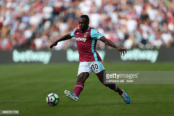 Michail Antonio of West Ham during the Premier League match between West Ham United and AFC Bournemouth at Olympic Stadium on August 21 2016 in...