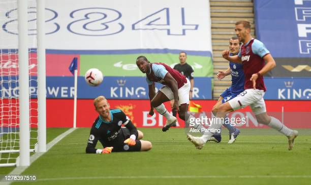 Michail Antonio of West Ham scores his sides first goal during the Premier League match between Leicester City and West Ham United at The King Power...