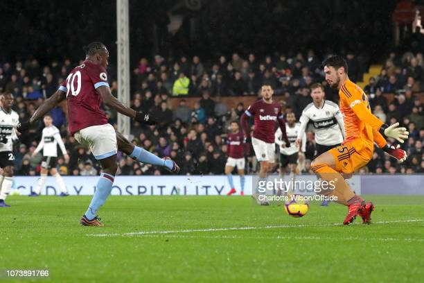 Michail Antonio of West Ham scores their 2nd goal during the Premier League match between Fulham FC and West Ham United at Craven Cottage on December...