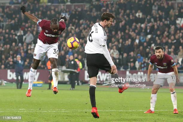 Michail Antonio of West Ham scores their 3rd goal during the Premier League match between West Ham United and Fulham FC at London Stadium on February...