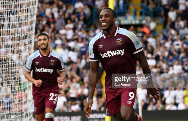 Michail Antonio of West Ham Unied celebrates after scoring their side's second goal during the Premier League match between Leeds United and West Ham...