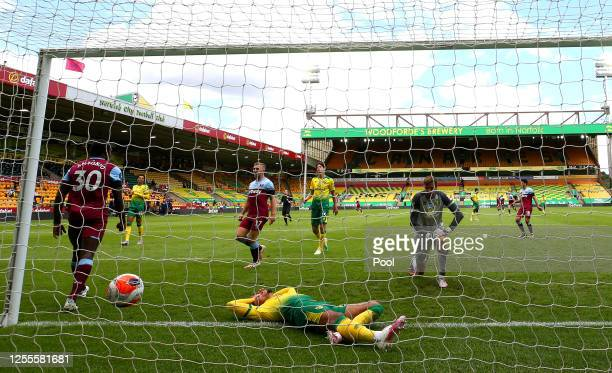 Michail Antonio of West Ham United celebrates after scoring his team's third goal, his hattrick, during the Premier League match between Norwich City...