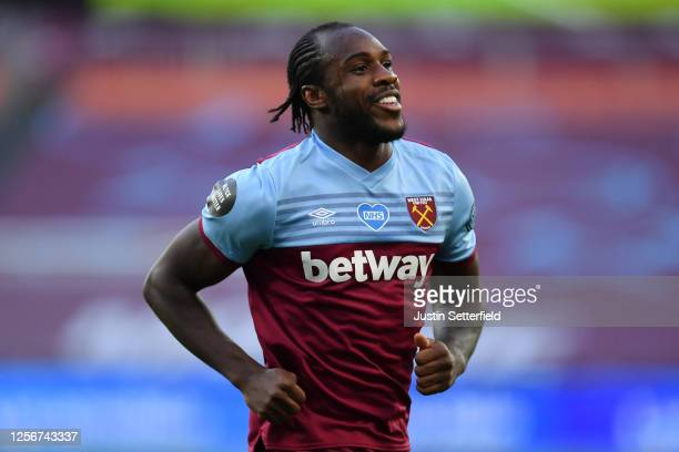 Michail Antonio of West Ham United celebrates after scoring his team's first goal during the Premier League match between West Ham United and Watford...