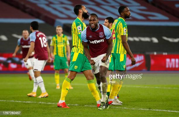 Michail Antonio of West Ham United celebrates after scoring their sides second goal during the Premier League match between West Ham United and West...