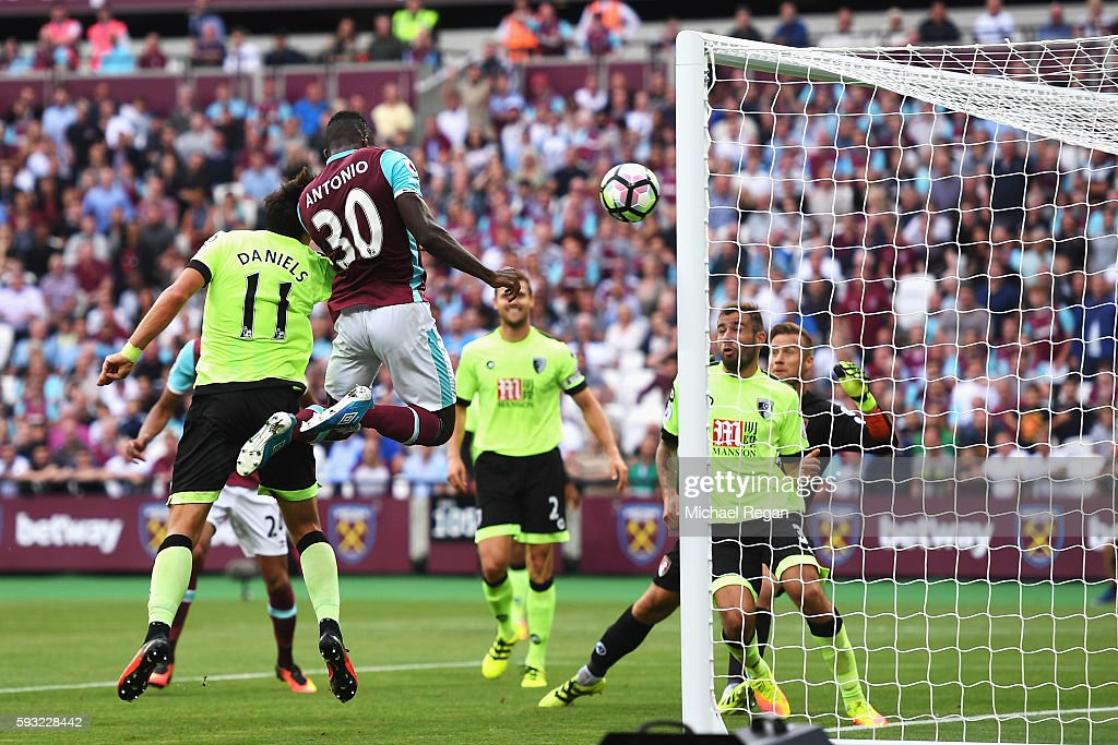 Michail Antonio of West Ham United heads the opening goal during the Premier League match between West Ham United and AFC Bournemouth at London Stadium on August 21, 2016 in London, England.